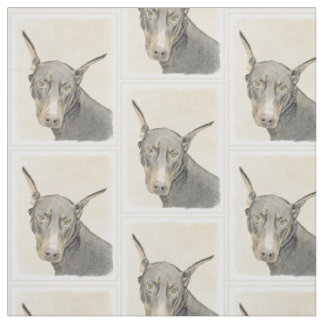 Doberman Pinscher Painting - Original Dog Art Fabric
