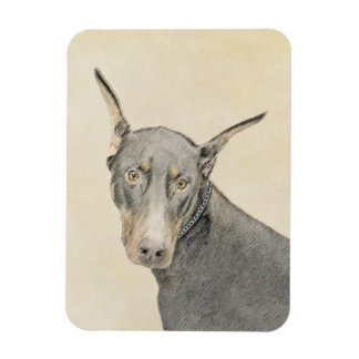 Doberman Pinscher Painting - Original Dog Art Magnet