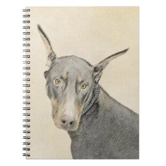 Doberman Pinscher Painting - Original Dog Art Notebook