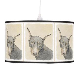 Doberman Pinscher Painting - Original Dog Art Pendant Lamp