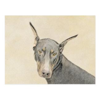 Doberman Pinscher Painting - Original Dog Art Postcard