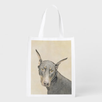 Doberman Pinscher Painting - Original Dog Art Reusable Grocery Bag
