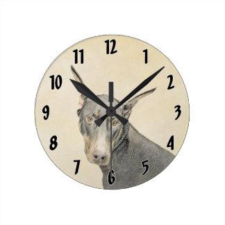 Doberman Pinscher Painting - Original Dog Art Round Clock