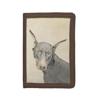 Doberman Pinscher Painting - Original Dog Art Tri-fold Wallet