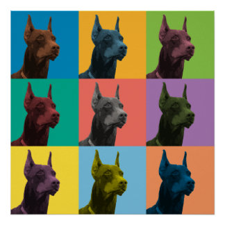 Doberman Pinscher Pop-Art Poster