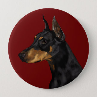 Doberman Pinscher Portrait, Art Print, Doberman Ar 4 Inch Round Button