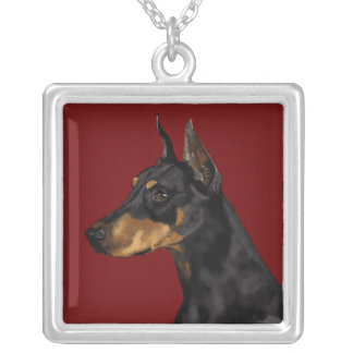 Doberman Pinscher Portrait, Art Print, Doberman Ar Silver Plated Necklace