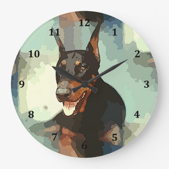 Doberman Pinscher Portrait Large Clock