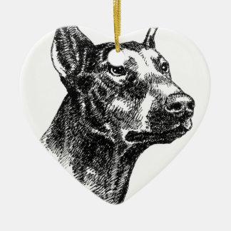 Doberman Pinscher Portraits Ceramic Heart Ornament