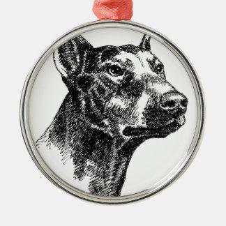 Doberman Pinscher Portraits Silver-Colored Round Ornament