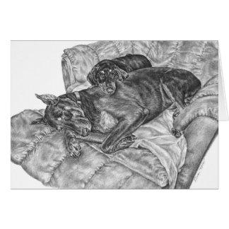 Doberman Pinscher & Puppy Drawing by Kelli Swan Card