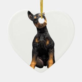 Doberman Pinscher Puppy Sitting Ceramic Heart Ornament