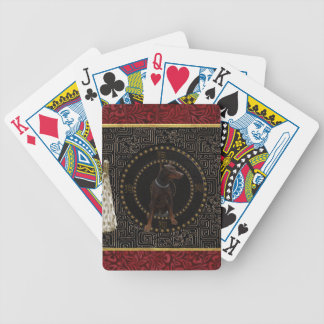 Doberman Pinscher, Round Shape, Dog in Chinese Bicycle Playing Cards