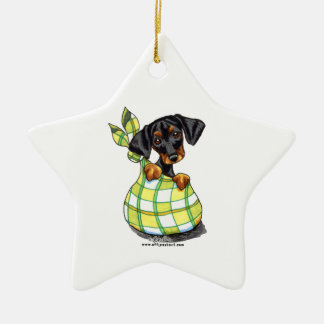 Doberman Pinscher Sack Puppy Ceramic Star Ornament