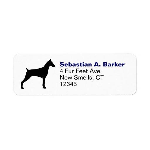 Doberman Pinscher Silhouette Return Address Labels