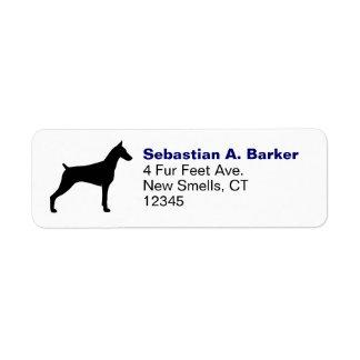 Doberman Pinscher Silhouette Return Address Label