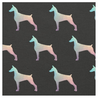 Doberman Pinscher Silhouette Tiled Fabric