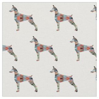 Doberman Pinscher Silhouette Tiled Fabric
