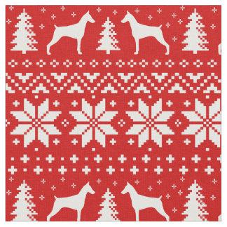 Doberman Pinscher Silhouettes Christmas Pattern Fabric