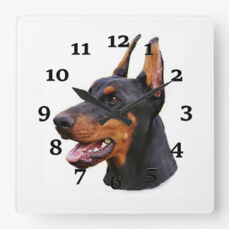 Doberman Pinscher Square Wall Clock