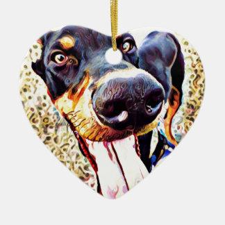 Doberman Pinscher Swirl Paint 1 Ceramic Heart Ornament