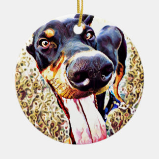 Doberman Pinscher Swirl Paint 1 Round Ceramic Ornament