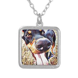 Doberman Pinscher Swirl Paint 1 Silver Plated Necklace