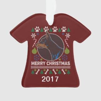 Doberman Pinscher Ugly Christmas Sweater Ornament