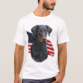 Doberman Pinscher- uncropped natural ear with flag T-Shirt