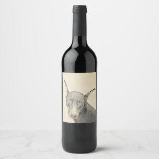 Doberman Pinscher Wine Label