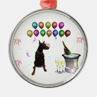 Doberman Pinscher wishing Happy New Year 2016 Silver-Colored Round Ornament