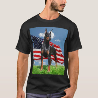 Doberman Pinscher with Flag t-shirt
