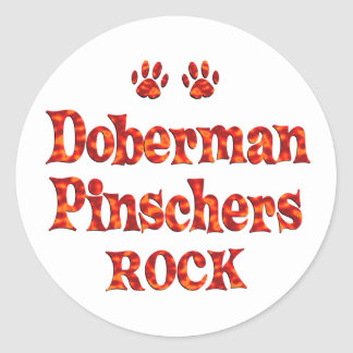 Doberman Pinschers Rock Classic Round Sticker