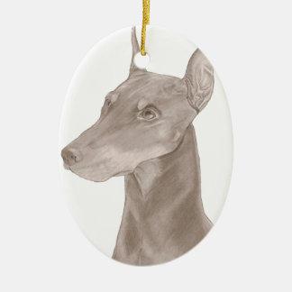 Doberman Portrait Ceramic Oval Ornament
