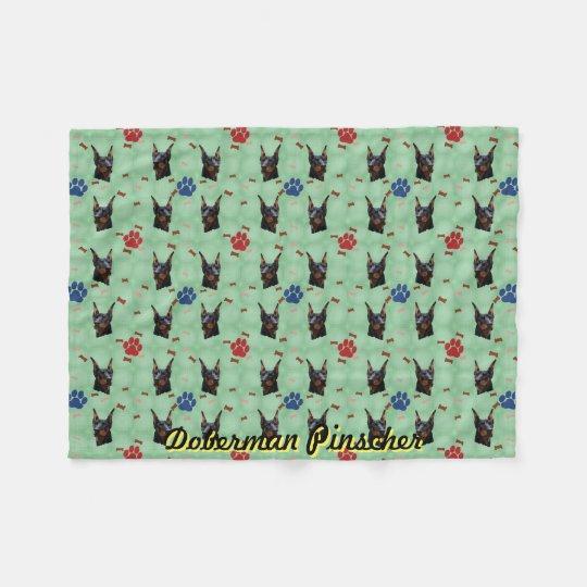 Doberman Portrait Fleece Blanket