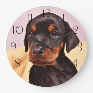 Doberman Puppy Large Clock