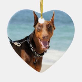 Doberman - Red - Bad to the Bone Ceramic Heart Ornament