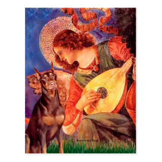 Doberman (red) - Mandolin Angel Postcard