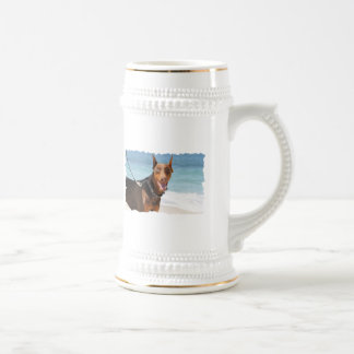 Doberman - Red - Sand in My Eyes Beer Stein