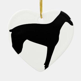 Doberman Silhouette Ceramic Heart Ornament