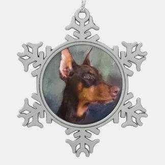 Doberman Snowflake Pewter Christmas Ornament