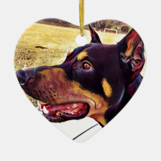 Doberman Swirl Paint 2 Ceramic Heart Ornament