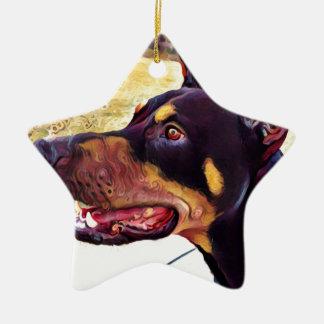 Doberman Swirl Paint 2 Ceramic Star Ornament