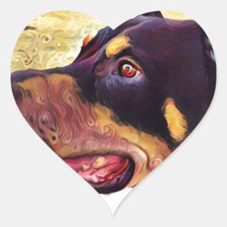Doberman Swirl Paint 2 Heart Sticker