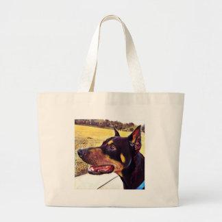 Doberman Swirl Paint 2 Large Tote Bag