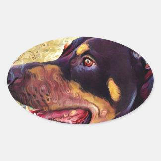 Doberman Swirl Paint 2 Oval Sticker