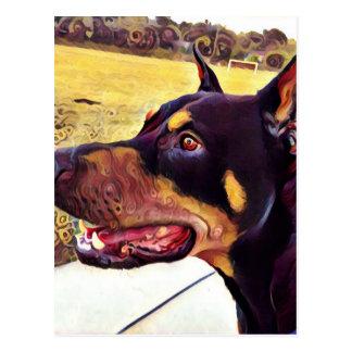 Doberman Swirl Paint 2 Postcard