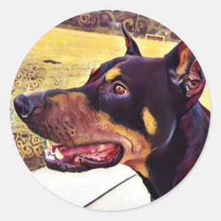 Doberman Swirl Paint 2 Round Sticker