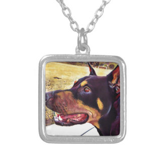 Doberman Swirl Paint 2 Silver Plated Necklace