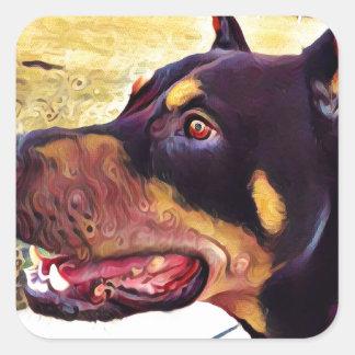 Doberman Swirl Paint 2 Square Sticker